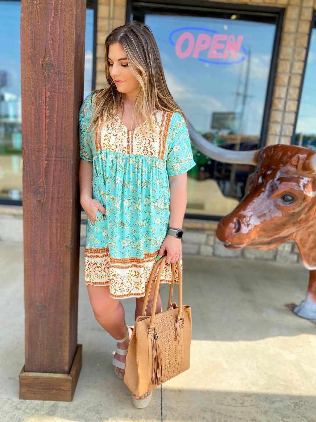 Mint Boho V Neck Dress