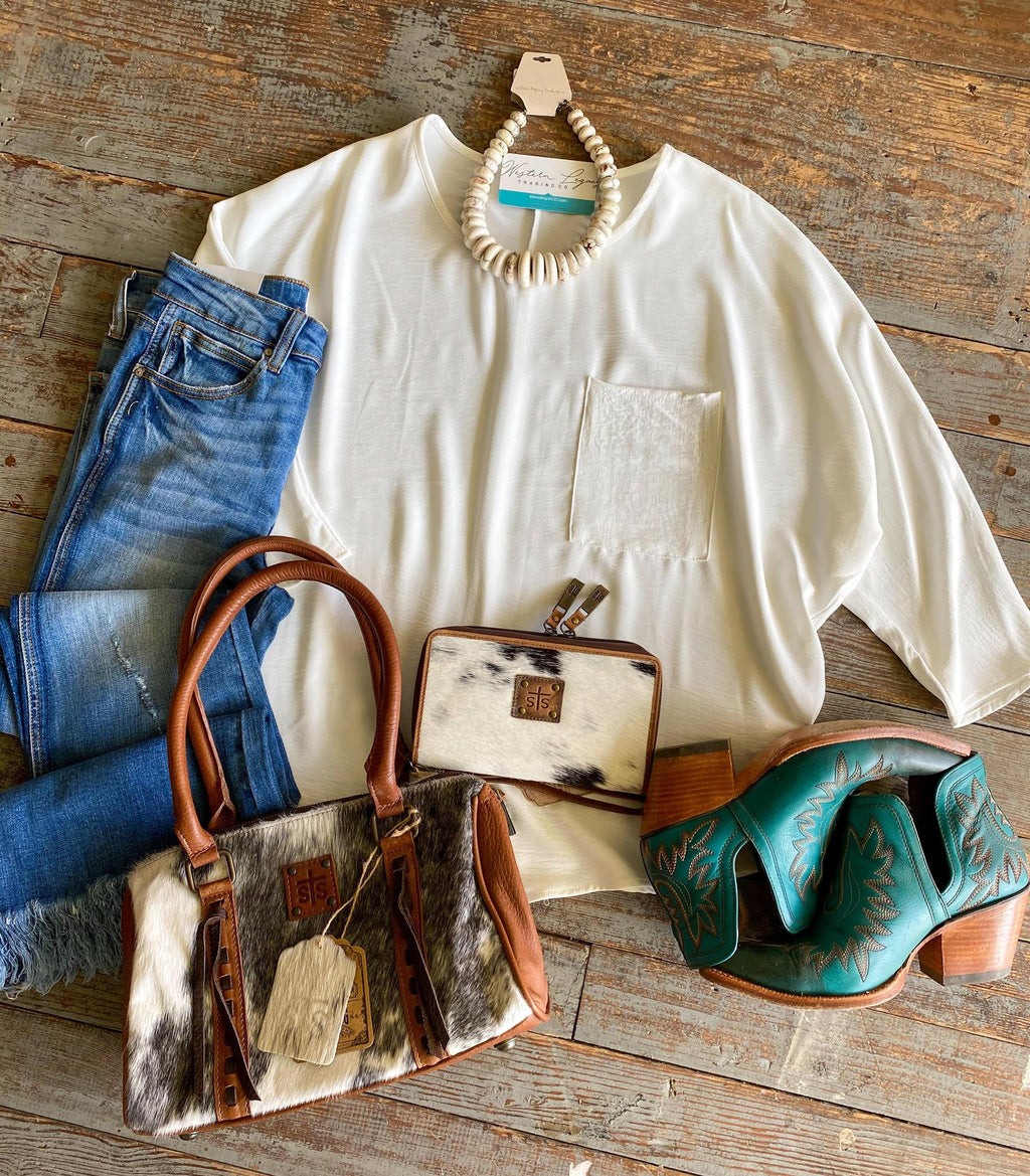 White Dolman Sleeve Blouse with Pocket