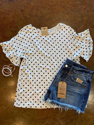 Polka Dot top with ruffle sleeves