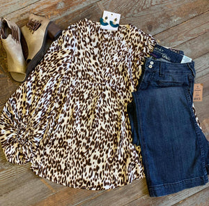 Leopard Satin Bubble Sleeve Top
