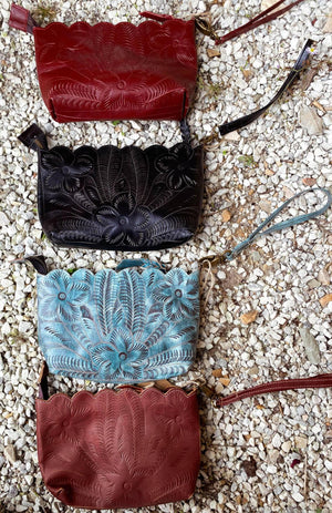 Vaquetta Tooled Wristlets with Scallop Edge
