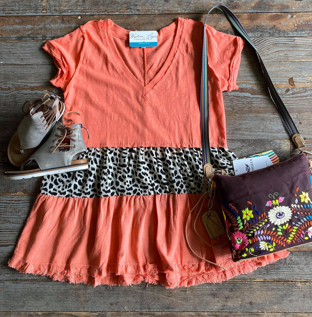 Coral and Leopard V Neck Dress