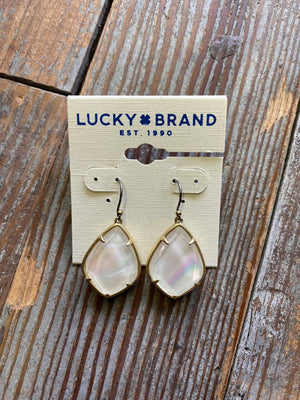 JWEL4311 White Teardrop Lucky Earrings