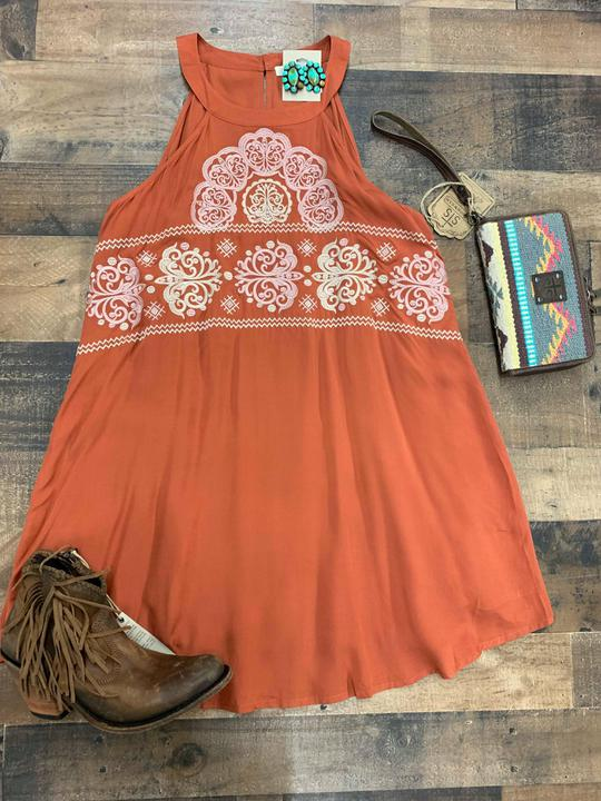 Burnt Sienna embroidered dress