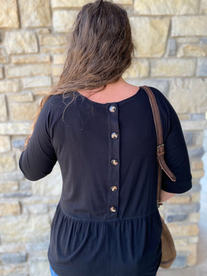 Rib Button Back Babydoll Top- two colors