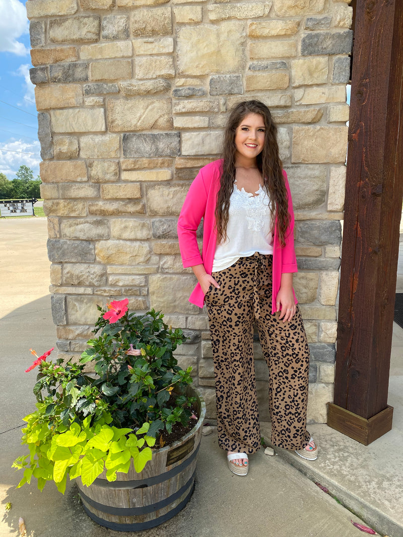 Leopard Paper Bag Wide Leg Pants