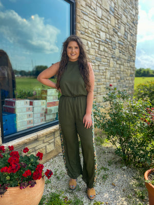 Olive Jumpsuit With Floral Stripe
