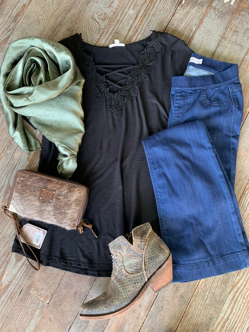 Dark Blue Pull On Flare Jeans