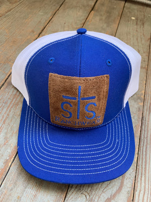 STS royal and white leather patch cap