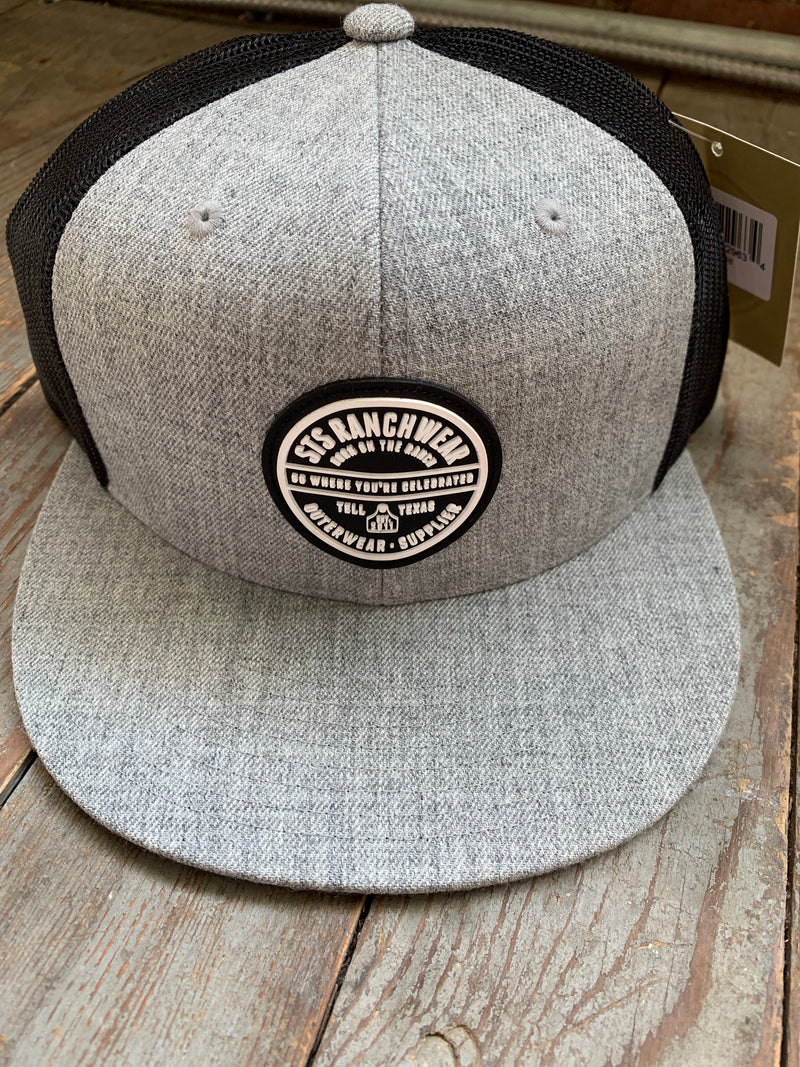 STS grey & black rubber logo patch cap