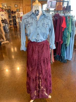 Burgundy Lace Maxi Skirt