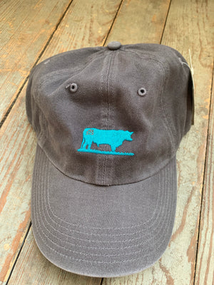 STS charcoal and turquoise bull cap