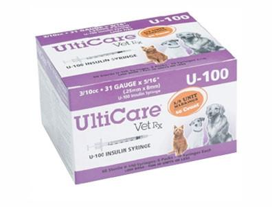 "UltiCare 18209 UltiCare VetRx Insulin Syringe U100 3/10cc 31G X 5/16"", 60/Box - Peazz Pet"