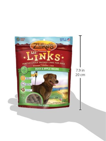 Zuke's Z-41053 Lil' Links Healthy Grain Free Little Sausage Links for Dogs Duck and Apple