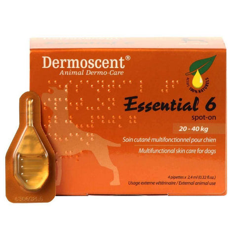 Dermoscent Essential 6 Spot-On Skin Care for Large Dogs 20-40 kg (45-90 lbs), 4 Tubes - Peazz Pet