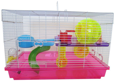 YML Group H1812PK H1812 Clear Plastic Dwarf Hamster, Mice Cage with Color Accessories, Pink