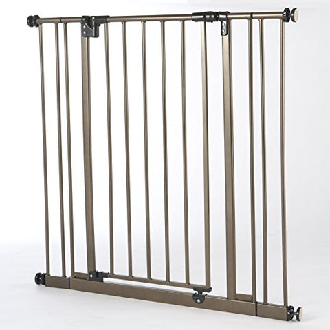 North States Extra Tall Deluxe Easy-Close Gate With 2 Extensions - Brown (NS4912S) - Peazz.com