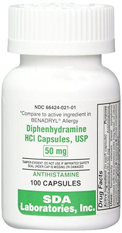 SDA Laboratories, Inc. 16835 Diphenhydramine HCL 50 mg, 100 Capsules - Peazz Pet