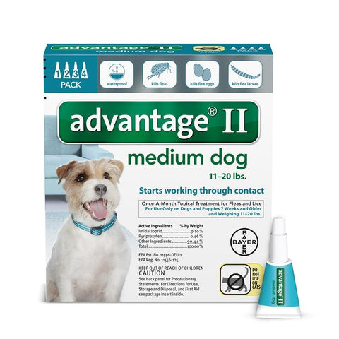 Advantage TEAL-20-4 Flea Control for Dogs And Puppies 11-20 lbs 4 Month Supply