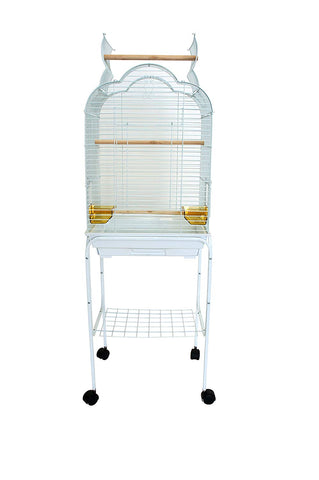 "YML 5/8"" Bar Spacing Small Parrot Cage, 18 x 14, White"