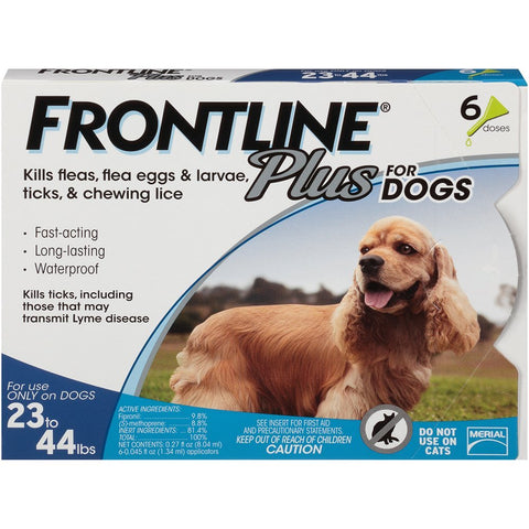 Merial 10188 Frontline Plus For Dogs 2344 lbs, Blue 6 Tubes - Peazz Pet