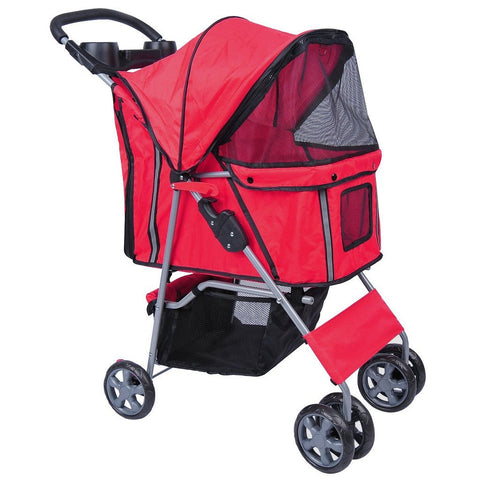 MDOG2 4-Wheel Front & Rear Entry MK0034 Pet Stroller (Red) - Peazz Pet - 1