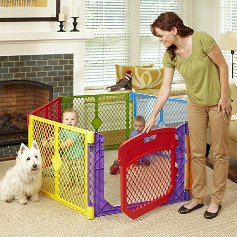 North States NS8750 Superyard Colorplay Ultimate Freestanding 6 Panel Playpen