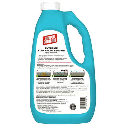 Simple Solution 13425-6P Extreme Spring Breeze Stain and Odor Remover 1 Gallon