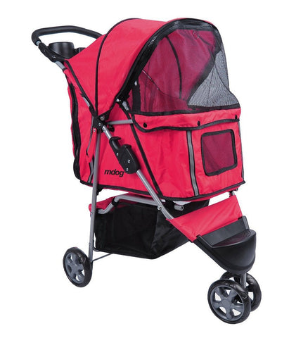 MDOG2 3-Wheel Front & Rear Entry MK0015A Pet Stroller (Red) - Peazz Pet - 1