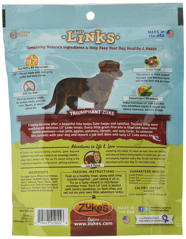 Zuke's Z-41055 Lil' Links Healthy Grain Free Little Sausage Links for Dogs Pork and Apple