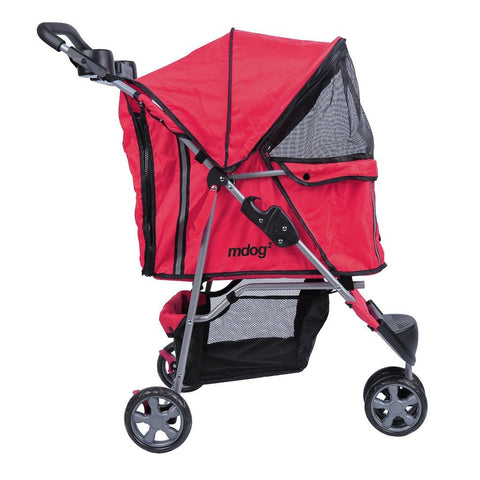 MDOG2 3-Wheel Front & Rear Entry MK0015A Pet Stroller (Red) - Peazz Pet - 3