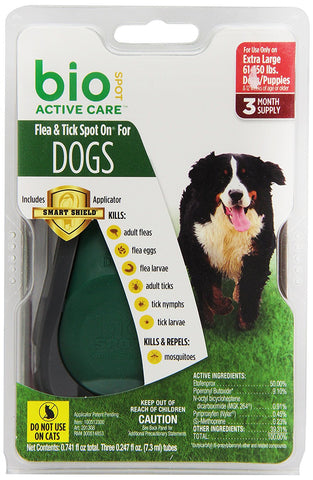 Central 18242 Bio Spot Active Care Flea & Tick Spot On, Extra Large Dogs 61150 lbs, 3 Months - Peazz Pet