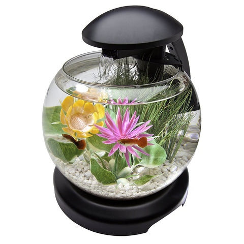 Tetra Waterfall Globe Aquarium Black 1.8 Gallon (29008) -Peazz Pet