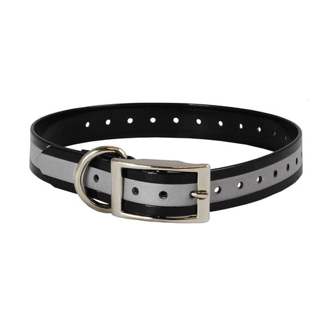 The Buzzard's Roost BUZZ-COLLAR-R-BLK Reflective Collar Strap 1""
