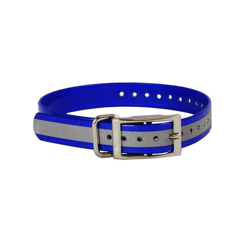 The Buzzard's Roost BUZZ-COLLAR-R-BLU Reflective Collar Strap 1""