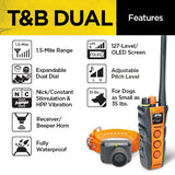 Dogtra T&B Dual 1-Dog Long Range 1.5-Mile Expandable Dual Dial Training & Beeper Remote Trainer