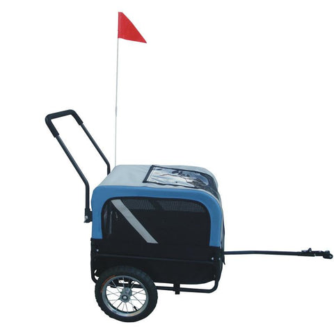 MDOG2 MK1484-BLU Comfy MK1484 Pet Bike Trailer/Jogging Stroller Small - Blue/Grey - Peazz Pet