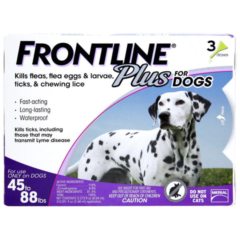 Frontline Plus, Dogs 45-88 lbs (3 Doses) - Peazz Pet