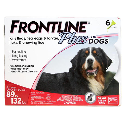 Frontline Plus, Dogs 89-132 lbs (6 Doses) - Peazz Pet