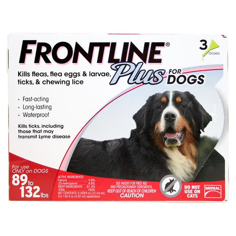 Frontline Plus, Dogs 89-132 lbs (3 Doses) - Peazz Pet