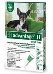 Advantage II For Small Dogs 1-10 lbs, Green 6 Pack - Peazz Pet