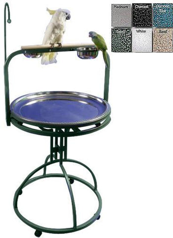 "A&E Cage 5-2828 Black 28"" Diameter Play Stand with Toy Hook - Peazz Pet"