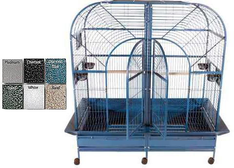 "A&E Cage 6432 Black 64""x32"" Double Macaw Cage with Removable Divider - Peazz Pet"