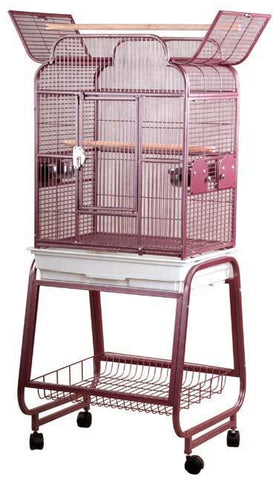 "A&E Cage 782217 Burgundy 22""x17"" Open Victorian Top with Plastic Base - Peazz Pet"