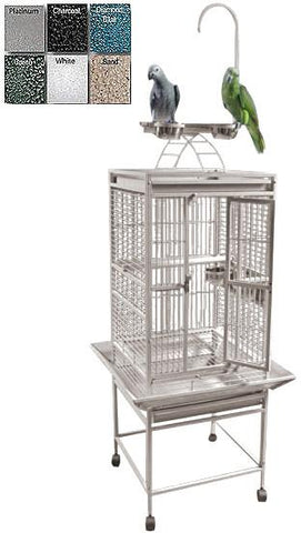 "A&E Cage 8001818 White 18""x18"" Play Top Cage with 5/8"" Bar Spacing - Peazz Pet"