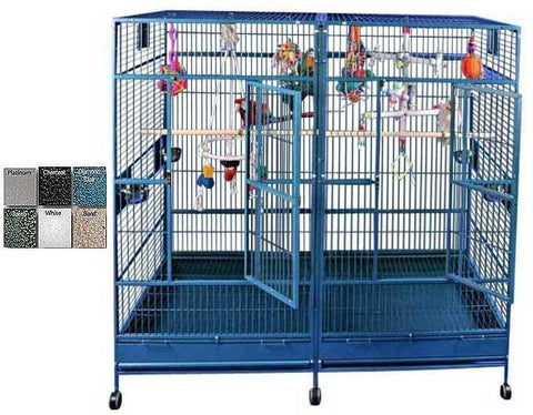 "A&E Cage 8040FL Black  80""x40"" Double Macaw Cage with Divider - Peazz Pet"