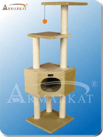 "Armarkat A5201 Faux Fur Pressed Wood 3"" Diameter Post Cat Tree 20"" L x 20"" W x 52"" H - Beige - Peazz Pet"