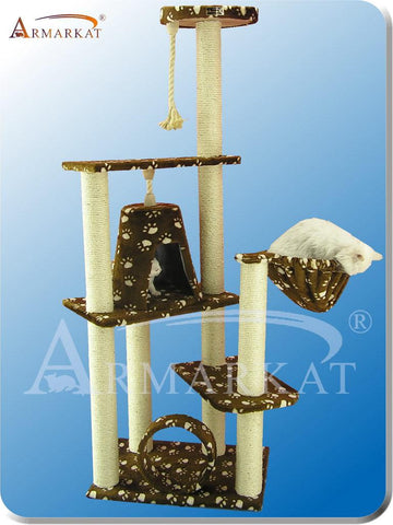 "Armarkat A6601 Faux Fur Pressed Wood 3.5"" Diameter Post Cat Tree 35"" L x 20"" W x 66"" H - SaddleBrown w/ White Paw Print - Peazz Pet"