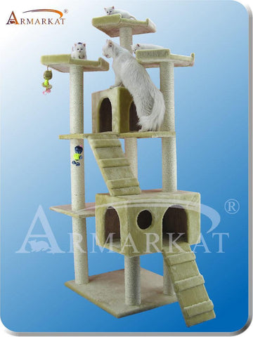 "Armarkat A7401 Faux Fur Pressed Wood 3.5"" Diameter Post Cat Tree 50"" L x 26"" W x 74"" H - Beige - Peazz Pet"