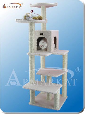 "Armarkat B6802 Faux Fleece Pressed Wood 3.5"" Diameter Post Cat Tree 31"" L x 25"" W x 68"" H - Ivory - Peazz Pet"